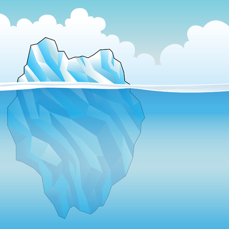 Blue Iceberg on a bright cloudy day Vector Illustration Stock Photo