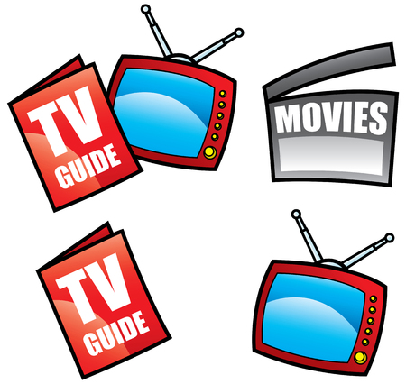 TV Guide, Television and visual media objects isolated on white