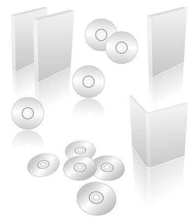 recordable: 3d blank dvd, cd, blu-ray cases and boxes Stock Photo