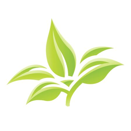 Illustration of Green Glossy Leaves Icon isolated on a white background Stock Photo