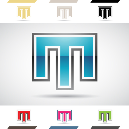 stock clip art icons: Design Concept of Colorful Stock Logos Icons and Shapes of Letter M, Vector Illustration