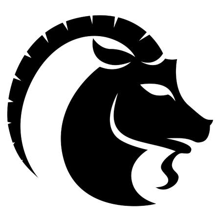 Illustration of Black Capricorn Zodiac Star Sign isolated on a white background Stock Photo