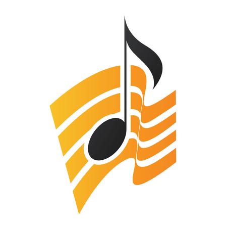 Illustration Orange musikalische Note auf einem weißen Hintergrund Standard-Bild - 61773392
