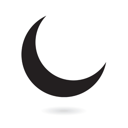 Black crescent moon isolated on white