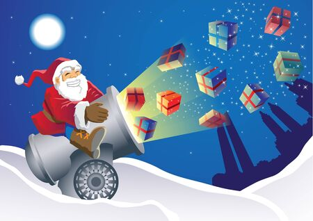 Santa Gift Launcher delivering the gifts in an unusual way Stock Photo