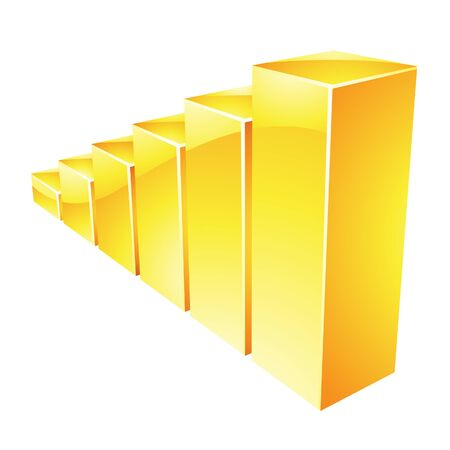 stat: Illustration of Yellow Glossy Stat Bars isolated on a white background Stock Photo