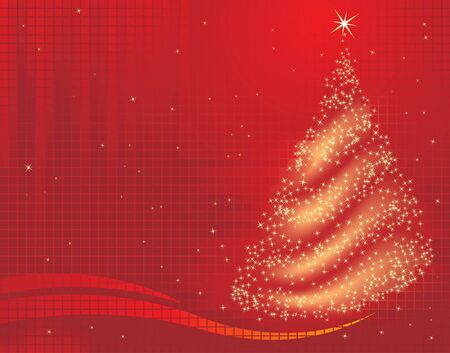 red christmas background: A magical christmas tree background on red