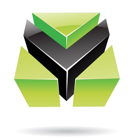 industrial drawing: Abstract cubic logo icon and graphic design Stock Photo