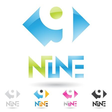 vector illustration of colorful and abstract icons for no nine Stock Photo