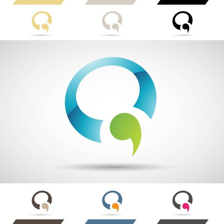 comma: Design Concept of Colorful Stock Logos Icons and Shapes of Letter Q, Vector Illustration
