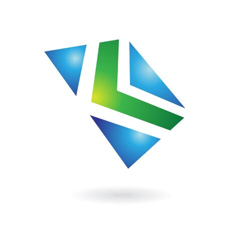 Green and blue glossy logo icon and graphic design element Stock Photo