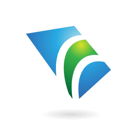 industrial drawing: Green and blue glossy logo icon and graphic design element Stock Photo