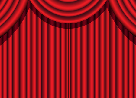 intermission: red velvet curtain of a theatrical event Stock Photo
