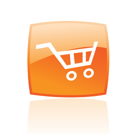 shoppingcart: Orange cart isolated on white Stock Photo