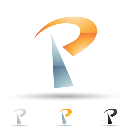 p illustration: Vector illustration of abstract icons based on the letter P