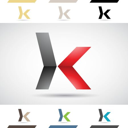 Design Concept of Colorful Stock Logos Icons and Shapes of Letter K, Vector Illustration