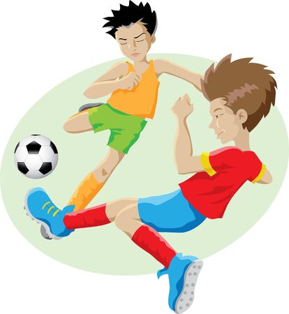 vector illustration of kids playing football Stock Photo