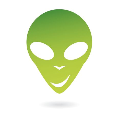 extra terrestrial: Green  alien isolated on white Stock Photo