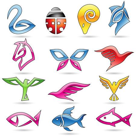 logo poisson: Vector illustration d'icônes art animaux de ligne colorée