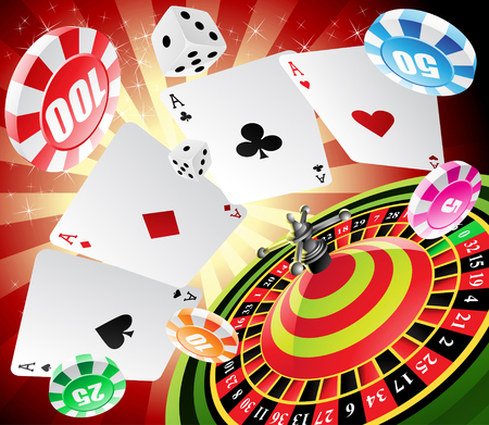 roulette table: a roulette table with various gambling and casino elements Stock Photo