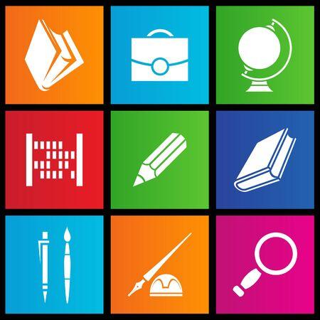 windows 8: vector illustration of metro style school objects Stock Photo