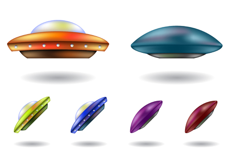 vector cartoons: colourful unidentified flying objects vector cartoons isolated
