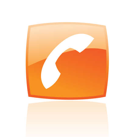phone button: Glossy phone in orange button isolated on white
