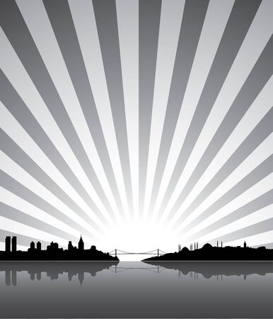 nights: Sunny Istanbul silhouette background Stock Photo