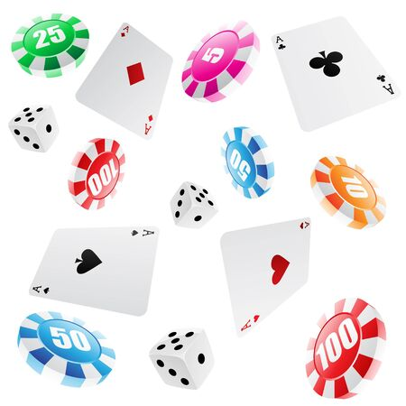 dices: playing cards, roulette chips and dices seamless pattern