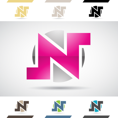 stock clip art: Design Concept of Colorful Stock Logos Icons and Shapes of Letter N, Vector Illustration