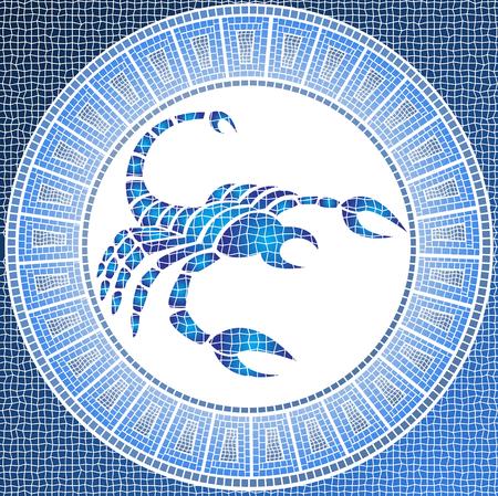 meses del a  ±o: Elemento agua: Muestra del zodiaco del escorpión en un mosaico Foto de archivo