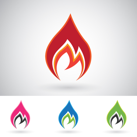 Vector Illustration of Colorful Fire Icons isolated on a white background Stock Photo