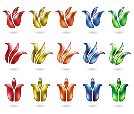 lots: lots of colourful and glossy tulip icons isolated on white Stock Photo