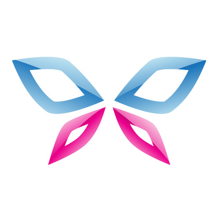 Illustration of Blue and Pink Butterfly Icon isolated on a white background