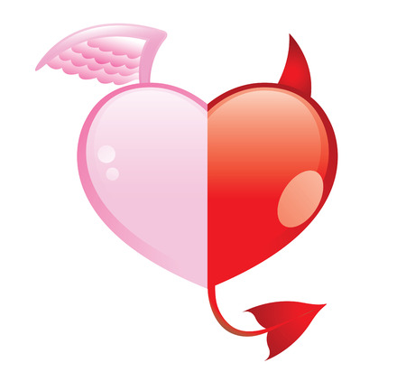 good and evil: angel and devil hearts, good and evil love