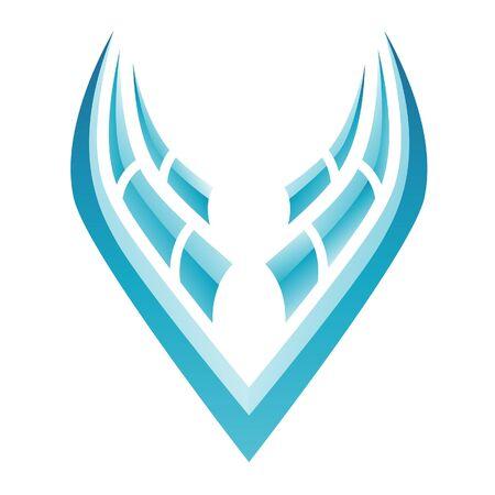 airways: Illustration of Blue Bird Icon isolated on a white background Stock Photo