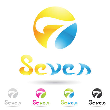 numeric: vector illustration of colorful and abstract icons for no seven