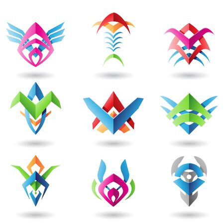 Abstract blade like icons resembling wings, fish and fishbones