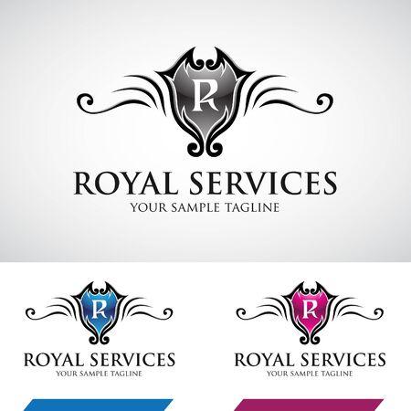 royal logo: Glossy Swirly Royal Logo Icon Vector Illustration
