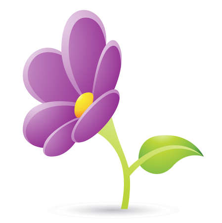 Illustration of Purple Flower Icon isolated on a white background Stock Photo