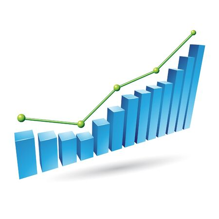 Illustration of Blue Stats Graph isolated on a white background Stock Photo