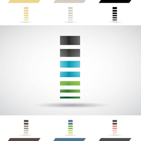 rectángulo: Concepto de diseño de iconos de colores stock Logotipos y formas de la letra I, ilustración vectorial