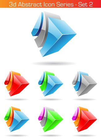 set series: Vector EPS illustration of 3d Abstract Icon Series - Set 2