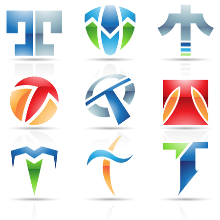 t square: Vector illustration of abstract icons based on the letter T