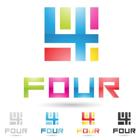 four: vector illustration of colorful and abstract icons for no four