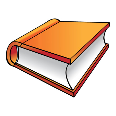 libro caricatura: Libro Naranja icono de dibujos animados aislado en blanco