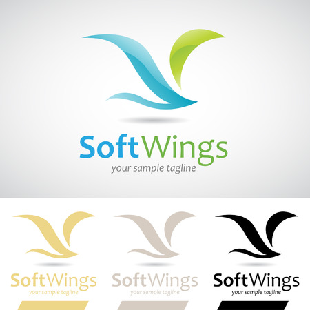 wing logo: Blue and Green Soft Wings Bird Logo Icon Vector Illustration