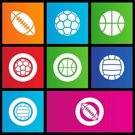 windows 8: vector illustration of metro style sports balls icons