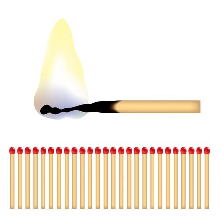 matchstick: a burning matchstick and lots of red matches