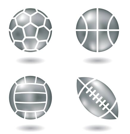 indoor sport: metal balls icons isolated on a white background Stock Photo